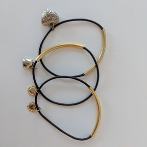 Jewelry - SET OF 3 delicate gold and leather bracelets